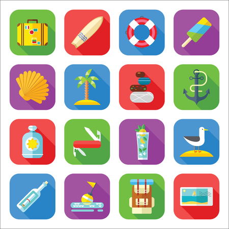 Zomervakantie en toerisme pictogrammenset in een platte ontwerp Stockfoto - 78540812