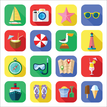 icon: Summer Vacation and Tourism Icon Set in a Flat Design