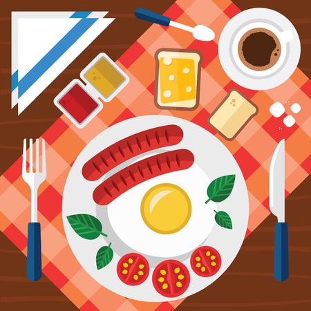 Vector Ontbijt Illustratie Met Vers Voedsel In Een Vlak Design Stockfoto - 79526261
