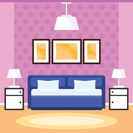 Slaapkamer interieur met meubels in een flat design Stockfoto - 79526265