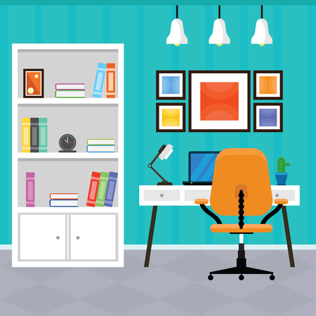 interior design home: Modern Home Office Interior with Furniture in a Flat Design Illustration