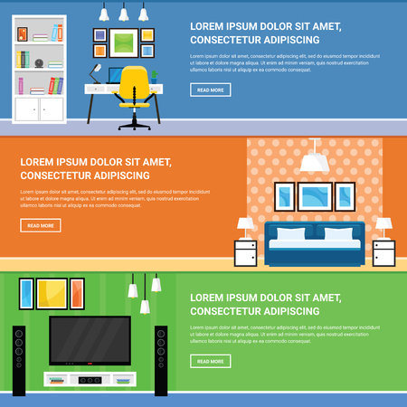 interior design home: Home Interior Design for Living Room, Bedroom and Home Office Furnishing Banners Set in a Flat Design