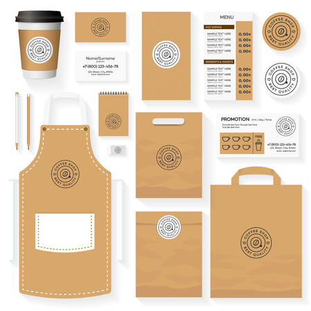 Koffie winkel huisstijl sjabloon ontwerpset met koffie winkel en koffieboon. Restaurant cafe set kaart, menu, pakket, uniforme ontwerpset.