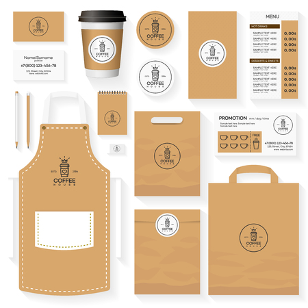 blank template: Coffee shop corporate identity template design set with coffee shop and coffee bean. Restaurant cafe set card,  menu, package, uniform design set. Illustration