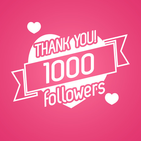 followers: Thank you followers card isolated on pink background. Vector Illustration