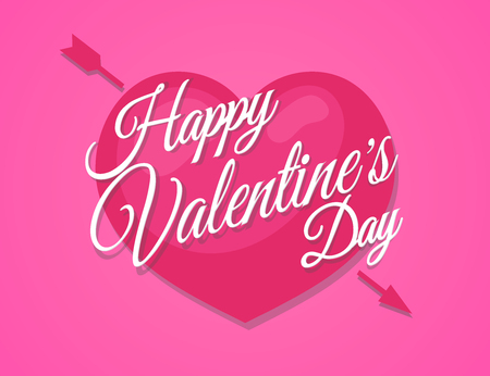 Happy Valentines sign on heart pierced by an arrow on background pink color. Vector illustration