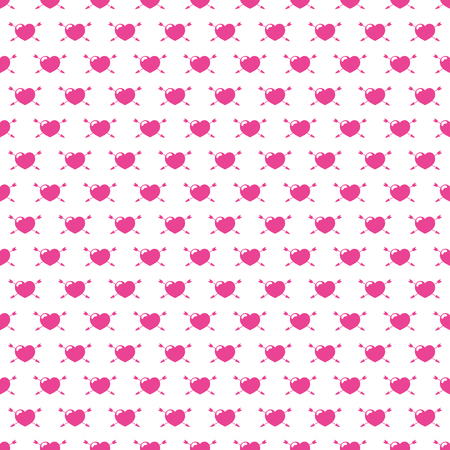 Seamless heart pierced by an arrow pattern for Valentines day. Vector illustration