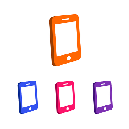 phone logo: Phone logo template set different color isolated on white background used for mobile shop, mobile store, phone service and repair. Perfect for your business card and identity. Vector Illustration