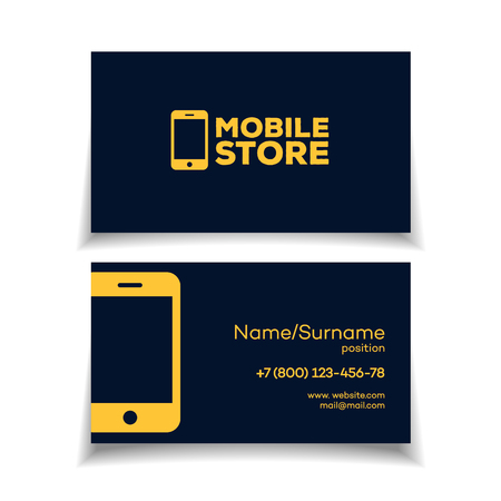 illustration mobile store business card design template with smartphone logo yellow color on white background perfect for your business design - Mobile Business Card