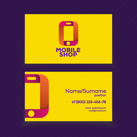 Business card design template with phone logo on yellow background 71412929 mobile shop business card design template with phone logo on yellow background can used for mobile store phone service and repair reheart Images