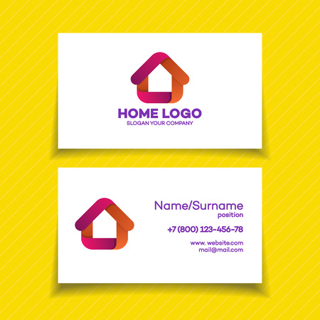 vector control illustration: Business card design template with home logo on white background for used for corporate identity smart home control, storage house, modern technology. Vector Illustration