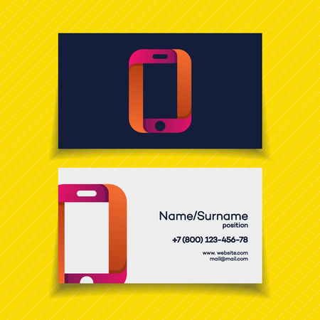 phone logo: Business card design template with phone logo on yellow background use for mobile store, mobile shop, phone service and repair. Perfect for your business design. Vector Illustration