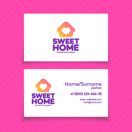 vector control illustration: Business card with home logo on white background for used for corporate identity smart home control, storage house, modern technology. Vector Illustration