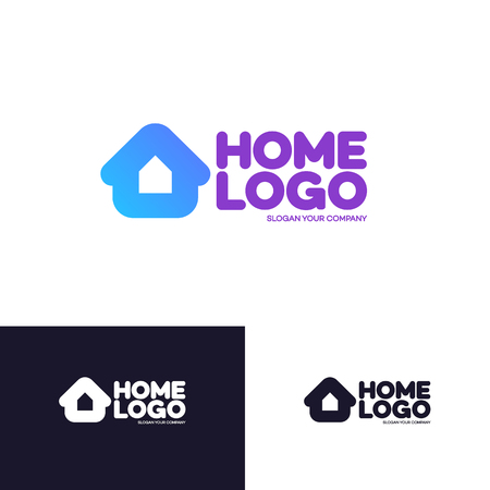 smart card: Home logo set isolated on background used for corporate identity smart home control, storage house and other. Vector Illustration