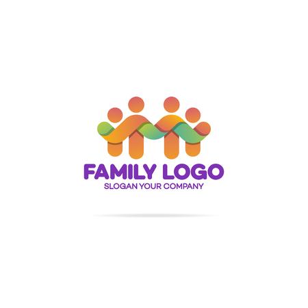 Familia Que Consiste En Figuras Simples Papá, Mamá Y Dos Niños ...