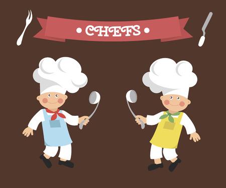 ladles: Chefs with ladles Illustration