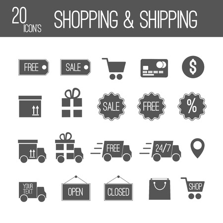 sales manager: shopping and shipping black set icons Stock Photo