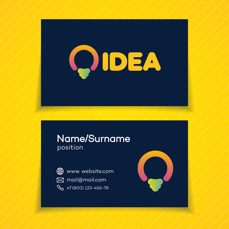 Business card with idea with light bulb for smart solution, creative studio, programming specialist, programmer, web developer, coder, software firm etc. Illustration