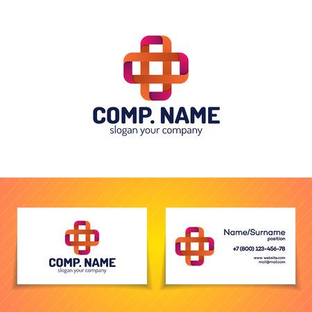 pharmaceutical company: Cross set design template modern color style. Illustration