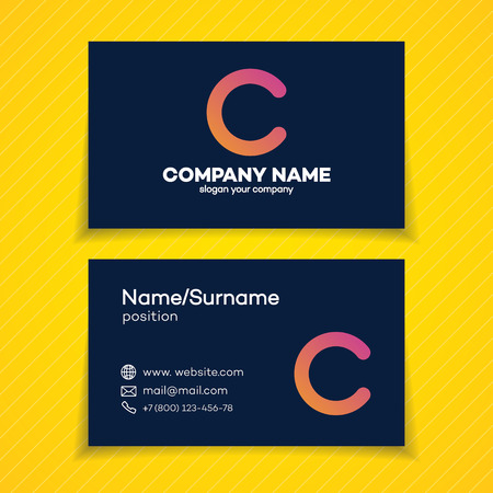 Business card design template with C letter on dark background for creative studio, coder, and etc. Perfect for your business design. Illustration