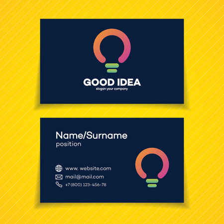 Business card with good idea with light bulb for smart solution, creative studio, programming specialist, programmer, web developer, coder, software firm etc. Illustration