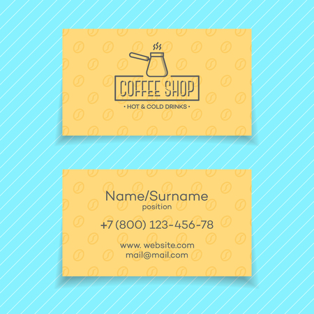 Business card of coffee shop isolated on turquoise background. design elements, business signs,  identity, labels, badges and other branding objects for business. illustration. Illustration