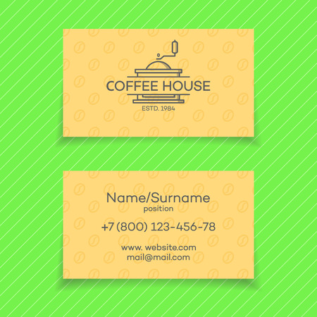 Business card of coffee house with coffee machine. design elements, business signs, identity, labels, badges and other branding objects for your business. illustration.