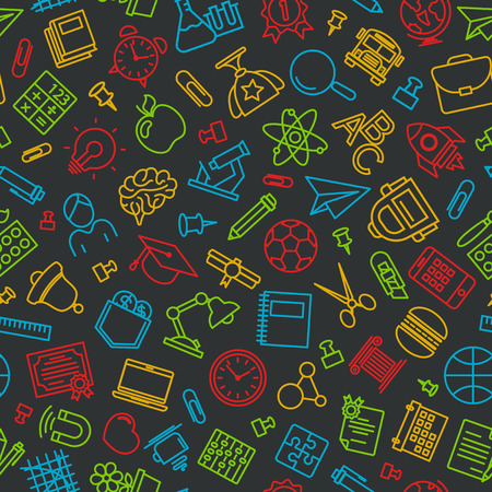 Pattern of welcome back to school with modern thin line icons school supplies on black background. Back To School Background. Back to school super shopping. Super sale. illustration.