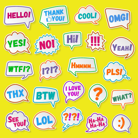 acronyms: Stickers of speech bubbles color set with shadows. Acronyms and abbreviations. Illustration