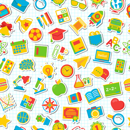 school: Seamless school pattern with flat color icons school supplies on checkered background. Education pattern. Vector Illustration