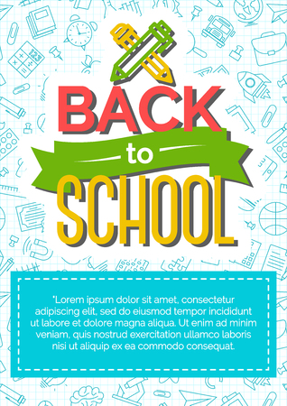 shopping chart: Back to school card with color label consisting of icon pen and pencil on school supplies blue line style background vector illustration.