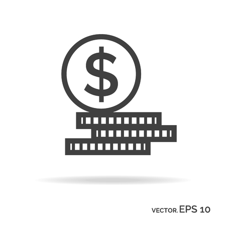 changes in equity: Set of money outline icon black color. Vector Illustration
