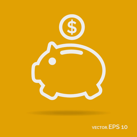 Money box outline icon white color isolated on yellow background. Vector Illustration Illustration