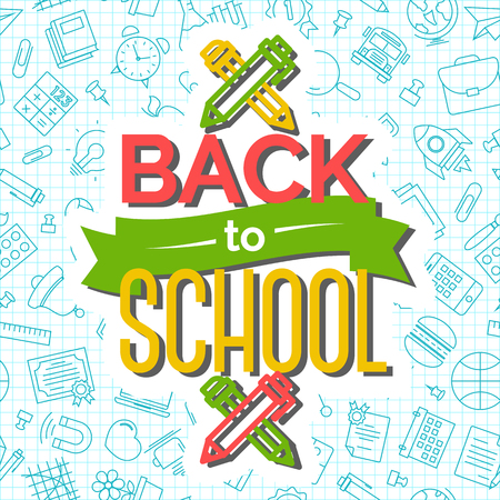 Back to school card with pen and pencil on seamless pattern of school supplies blue line style. Vector illustration.