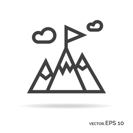 Success icon. Mountains with flag outline icon black color isolated on white background