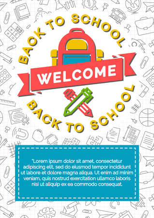 shopping chart: Back to school card with color school backpack, pen and pencil on background consisting of school supplies black line style. Vector illustration. Stock Photo