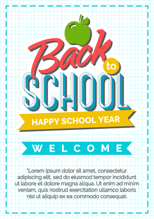 shopping chart: Back to school card with color label consisting of apple and sign happy school year on checkered background and blue frame. Vector illustration.