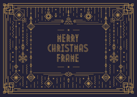 Merry Christmas card template with frame and new year toy art deco line style gold color on black background for poster, greeting card, invitation, party, flyer. Vector Illustration Vectores