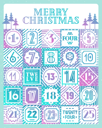 Christmas countdown calendar printable tags color style with different background consisting of christmas tree, snowflake, star, candy, checkered background, circle. Vector Illustration
