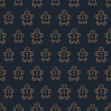 Christmas cookie man candy seamless pattern gold color line style on black background for product promotion, christmas sale, greeting cards, web and marketing material, decoration. Vector Illustration Vector Illustration