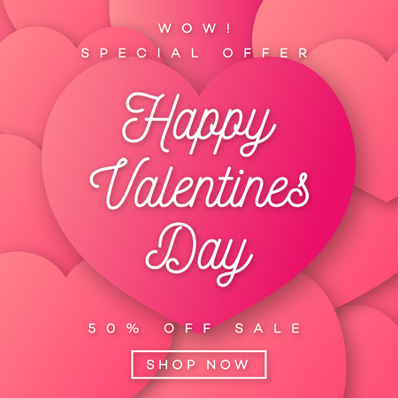 Valentines Day Banner Sale With Wishes And Special Offer On Hearts