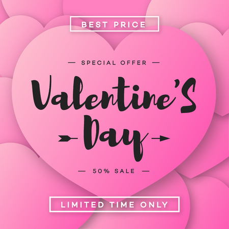 Valentines day banner sale with special offer on pink hearts stock valentines day banner sale with special offer on pink hearts background for promotion greeting card m4hsunfo