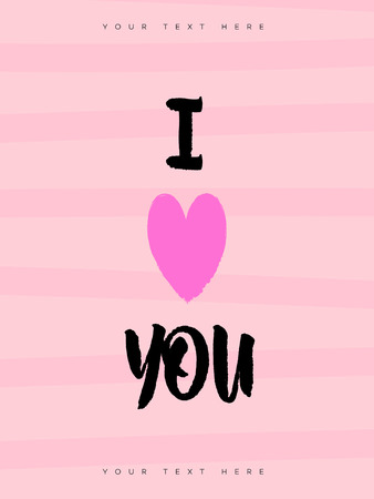 Valentines greeting card with sign i love you and heart symbol on pink background for banner sale, promotion, stamp, party poster, label, tag, special offer, decoration, quote. Vector Illustration Illustration