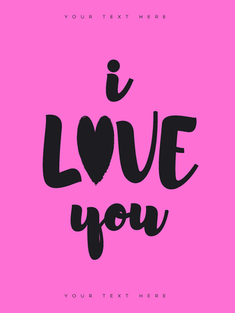 Valentines greeting card with sign i love you black color on pink background for banner sale, promotion, stamp, poster, label, tag, special offer, decoration, quote. Vector Illustration