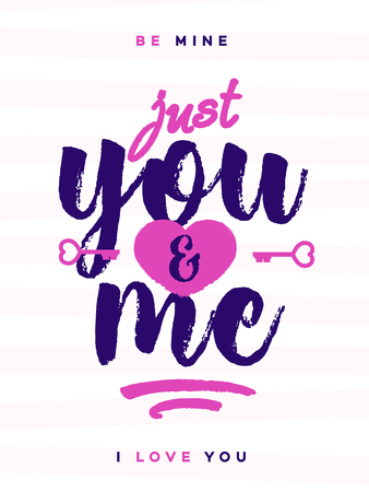 Valentines day greeting card with sign just you and me on lovely cute background for decoration, banner sale, promotion, party poster, stamp, label, tag, special offer. Vector Illustration Illustration