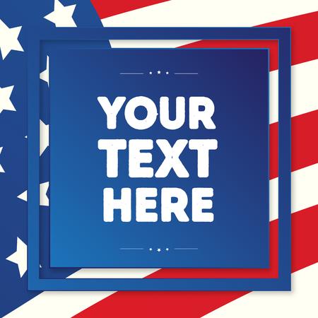 Amerikaanse vlagachtergrond voor president, veteranen, banner van de onafhankelijkheidsdag, wenskaart, verkoop, promotie, feestaffiche, stempel, etiket, label, decoratie, citaat, speciale aanbieding. Vector illustratie