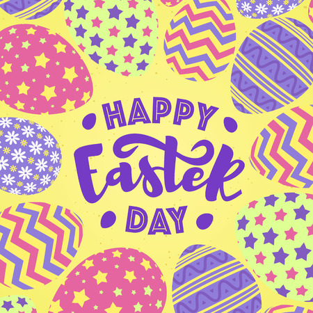 Happy easter day greeting card with eggs colorful style on yellow background for promotion, party poster, tag, decoration, banner sale, stamp, label, special offer. Vector Illustration