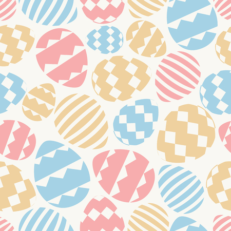Easter eggs seamless pattern cute color style for printing on promotion, banner, greeting card, fabric, scrapbooking, decoration, gift wrap, sale, party poster, stamp, label. Vector Illustration Stock Photo