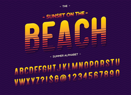 Vector beach font colorful style modern typography. Alphabet for t shirt, party poster, printing on fabric, promotion, kids book, greeting card, decoration, stamp, label, special offer Vectores