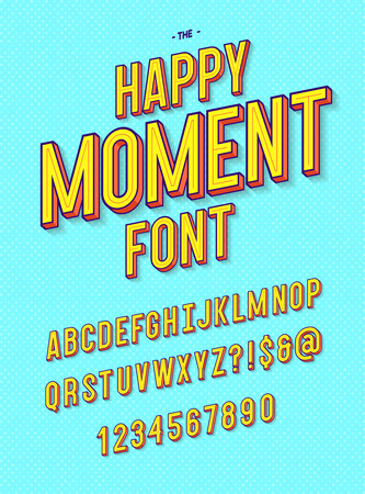 Happy moment font modern typography. Alphabet sans serif style for printing, decoration, party poster, promotion, t shirt, sale banner. Vector Illustration 10 eps Stock Photo